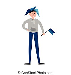 Smiling sports fan in blue hat supporting his team with a blue flag cartoon character vector Illustration
