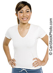 Smiling Sporty Girl - A young woman in white t-shirt with ...