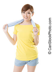 Smiling sporty woman