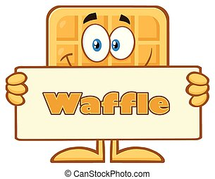 Smiling Square Waffle Cartoon Mascot Character Holding A Banner