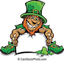 Happy Cartoon Leprechaun on St Patricks Day Holiday Vector Illustration