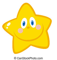 Smiling Star Cartoon Character - Happy Grinning Yellow Star...