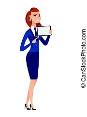 Smiling stewardess holding tablet computer.