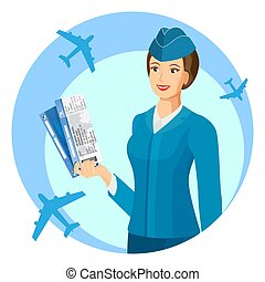 Smiling stewardess with air passage in hands promo poster -...