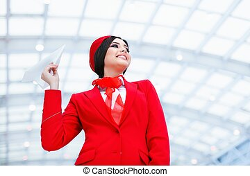 Smiling stewardess