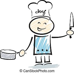 stickman chef with toque holding kitchen knife and saucepan