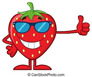 Smiling Strawberry Fruit Cartoon Mascot Character With Sunglasses Giving A Thumb Up