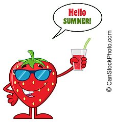 Smiling Strawberry Fruit Cartoon Mascot Character With Sunglasses Holding Up A Glass Of Juice