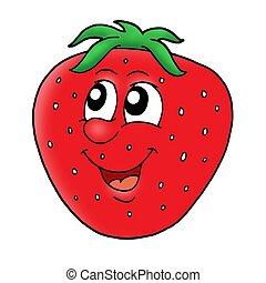 Smiling red strawberry - color illustration.