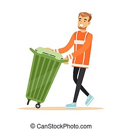 Smiling street cleaner man in a orange uniform taking out a container with garbage, waste recycling and utilization concept vector Illustration