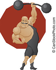 Smiling strong man lift a barbell - Illustration of cartoon...