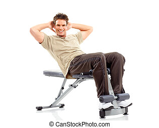 working out - Smiling strong man working out. Isolated over...