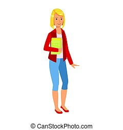 Smiling student girl in red jacket holding books in her hands. Colorful cartoon illustration