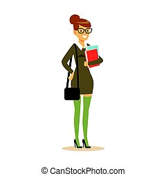 Smiling student in gray dress with books in her hands. Student lifestyle colorful character vector Illustration