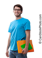 Smiling student keeping folder
