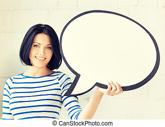 smiling student with blank text bubble