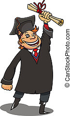 Smiling student with diploma for education concept or design