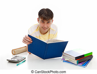 Smiling student with textbooks