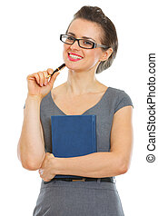 Smiling student woman with notebook and pen