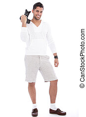 Smiling successful male photographer
