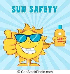 Smiling Summer Sun Holding A Bottle