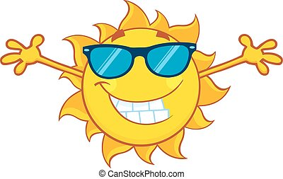 Smiling Summer Sun With Open Arms