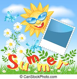Smiling sun and photo frame