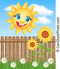 Smiling sun and sunflowers