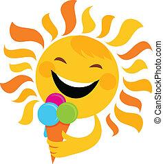 smiling sun eating ice cream , vector illustration