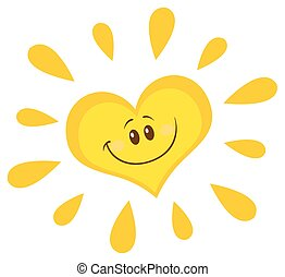 Smiling Sun Heart Character