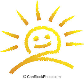 smiling sun - illustration of a sun drawn with chalk