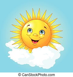 Smiling sun - Illustration of smiling sun on the cloud