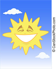 Smiling sun in the blue sky - Vector illustration of a funny...