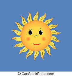 smiling sun on blue sky background