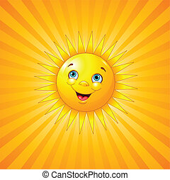Smiling sun on radial background.