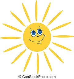 Smiling sun on white background, vector illustration