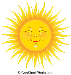 Smiling sun - Vector Smiling Sun over white. EPS 8, AI, JPEG
