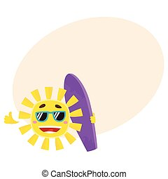 Smiling sun wearing sunglasses and holding surf board, vector illustration