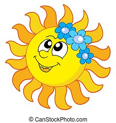Smiling Sun with flowers - isolated illustration.