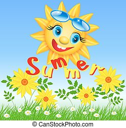 Smiling sun with inscription summer
