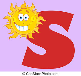 Smiling Sun With Letters S - Grinning Sun With The Letter S...