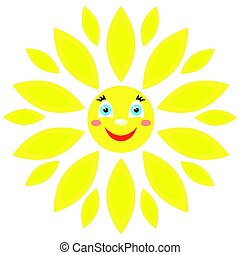 Smiling sun with rays of different shapes.