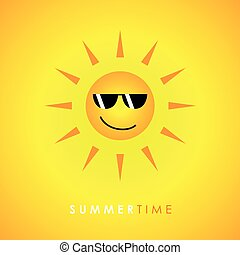 smiling sun with sunglasses on yellow background