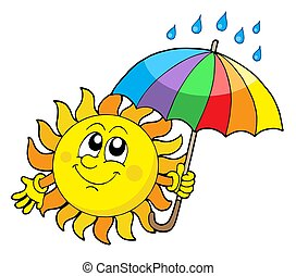 Smiling Sun with umbrella - isolated illustration.