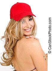Smiling Sunlover - Bikini woman wilth blonde curled hair...