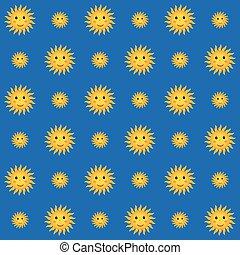 smiling suns on blue sky background