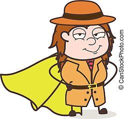Smiling Super Girl - Female Explorer Scientist Cartoon Vector