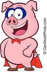 Smiling superhero pig