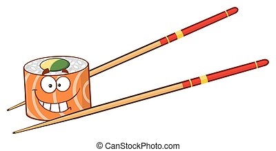 Smiling Sushi Roll With Chopsticks