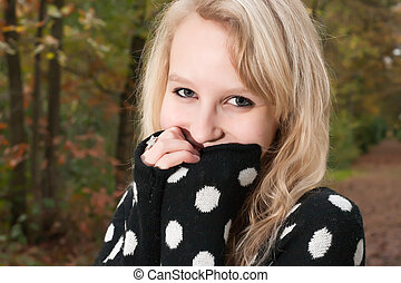 Smiling sweet blond girl